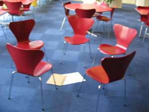 Pretentious circle of chairs
