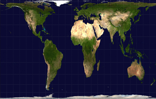 Gall-Peters projection of the world