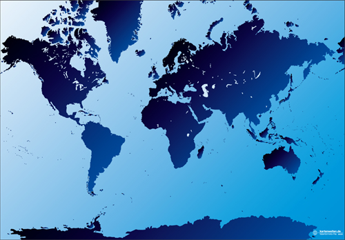 Mercator projection of the world