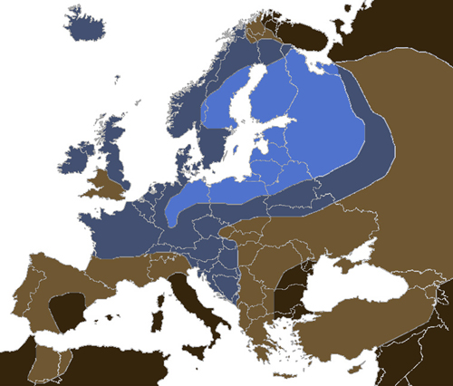 Blue eyes in Europe