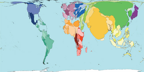 The world according to size of land