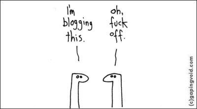 Blogging this fuck off